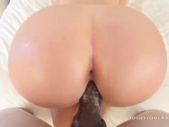 large assed white girlfriend farts on massive black dick POV