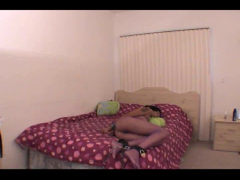 Ebony wifey chained to bed